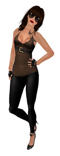 >IMANI<Jamie Outfit Coffee (Gift)  from store the aviator glassed and gloves 5l each one