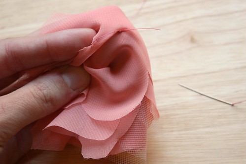 Step 7: Pinch Flower Middle and Sew