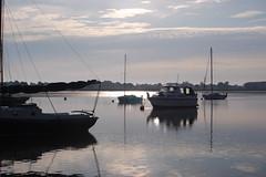 Waldringfield, Suffolk (DaveJC90) Tags: morning blue light sky cloud sun tree water sunrise river boat suffolk deben waldringfield