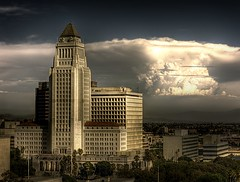 Los Angeles City Hall (Andy Kennelly) Tags: california city trees windows building architecture clouds la hall los crazy downtown angeles flags palm historic
