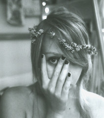 clover crown (the vast spoils of America) Tags: flowers summer bw film home girl youth self hair happy august bands nails hide freckles hiding brighteyes daisychain brighten 2010 clavicles