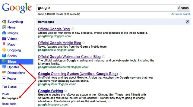 google blog filter