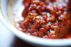 I'm Making Harrisa Paste (Lameen) Tags: coriander chillies macrofood moroccanfood redfood nikond60 nikkorf1850mm harrisa