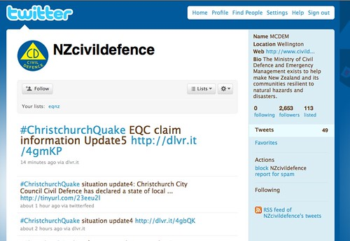 NZ Civil Defence run an odd Twitter account