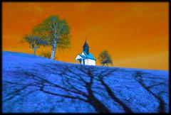 Shadow (Lumitax) Tags: wiese schatten baum kapelle verfremdung sigma18200 wolfsberg fixfoto pentaxkr
