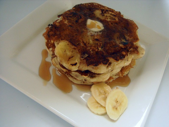 banana pancakes with caramelized cinnamon walnuts