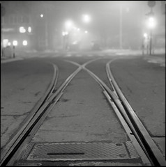 Railkeh (OverdeaR [donkey's talking monkey's nodding]) Tags: road street urban bw 120 6x6 film night mediumformat square lens soup lights dof nocturnal traffic kodak tmax pavement steel serbia stock tram railway ps scan negative bronica scanned rails hood belgrade crossroads beograd f28 sqa thirds srbija 80mm tmx100 microphen 8028 zenzanon singidunum homedev dorćol 100ei cs8800f dorčol