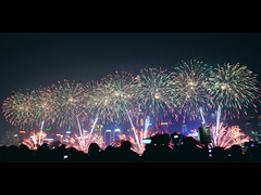 Lunar New Year Fireworks Display ([~Bryan~]) Tags: hongkong smoke chinesenewyear victoriaharbour yearofrabbit gettyimageshongkongmacauq1 chinesenewyearfireworksdisplay