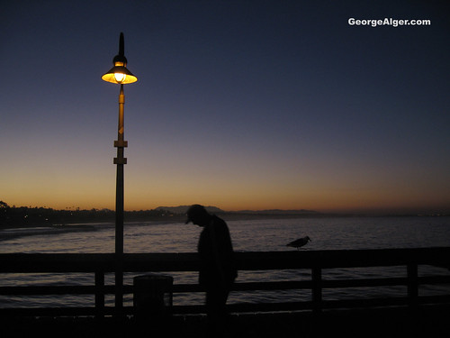 Sunrise Contemplation - Man and Bird, by George Alger
