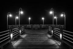 after midnight / st. marys river (twurdemann) Tags: aftermidnight blackandwhite downtown fog fujit1 hubtrail longexposure night niksilverefex ontario pier saultstemarie spring stmarysriver weather xf1855mm