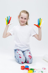 Kids Concepts. Portrait of Funny Young Girl Showing Messy Colorful Hands Brightly Painted During Paint Craft. Against White Background. (DmitryMorgan) Tags: 1 711years active againstwhite artist artistic arty caucasian cheerful child childhood color colorful colour concept craft creative creativity daughter drawing education female fingers fun gouache hand happy kid little messy multicolor one paint painter palms people playful pleasure positive preschooler smiling tshirt young