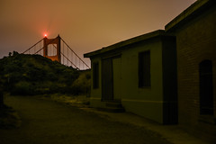 fort spencer unilluminated (pbo31) Tags: bayarea california nikon d810 color june 2017 summer pbo31 boury marincounty northbay goldengatenationalrecreationarea goldengatebridge bridge 101 orange fortspencer dark black night fog