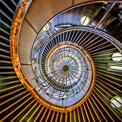 Merry-Go-Round (Paul Brouns) Tags: architecture abstractarchitecture staircase spiral steps looking up tokyo square lights busy radials ginza architectuur architectes