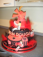 My FANTASTIC cake (Elysia in Wonderland) Tags: birthday party moon windmill cake spectacular hearts moulin rouge feathers 18th icing theme elysia fondant