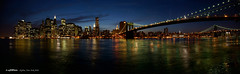 Skyline (panormica) (scar Garriga) Tags: nyc sunset sky usa ny newyork skyline brooklyn night buildings lights luces noche edificios unitedstates manhattan sony panoramica pont puestadesol alpha nit estadosunidos lightroom nuevayork llums postadesol eeuu edificis potoshop a700 punete estatsunits horaazul horablava