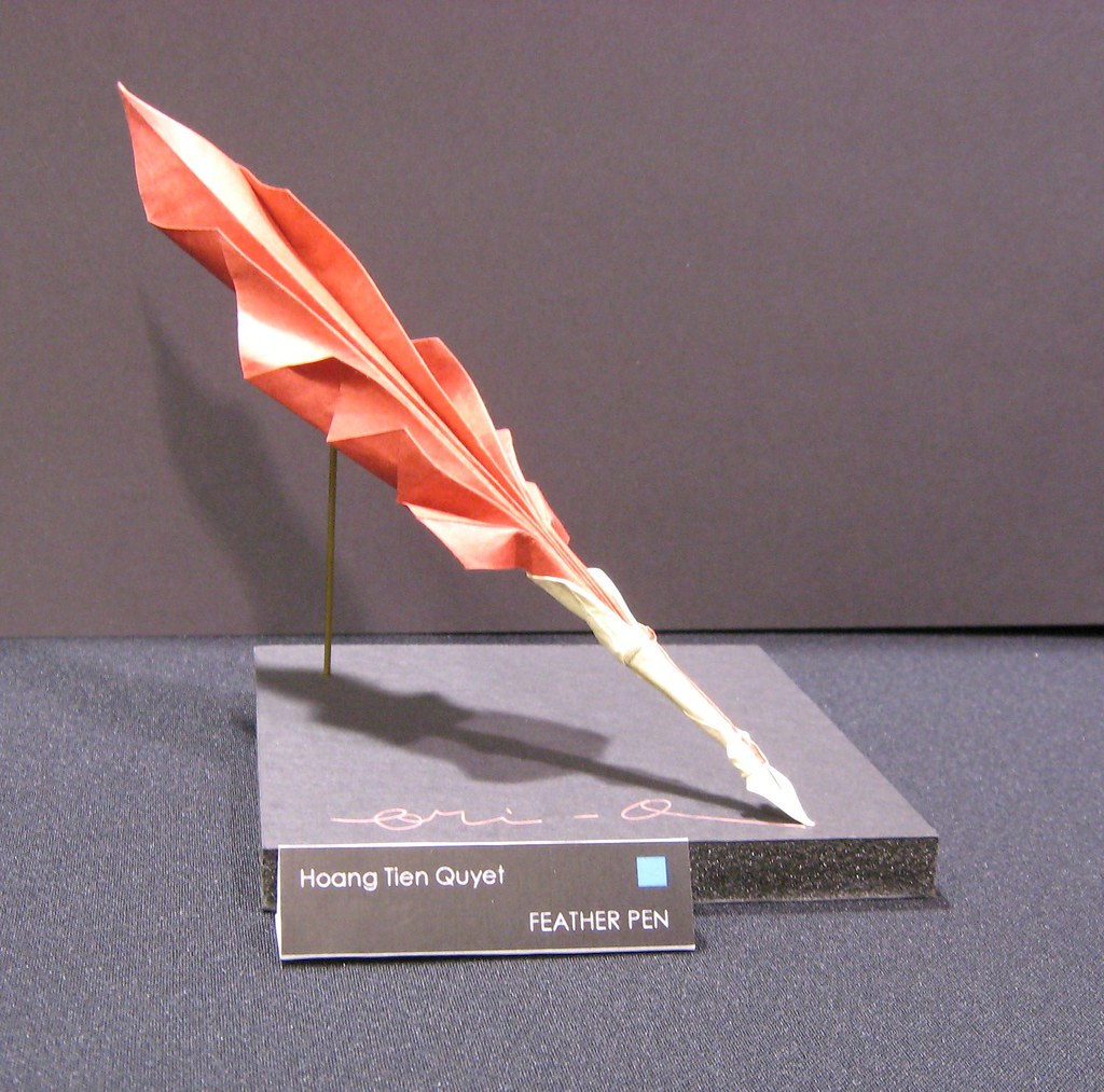 Origami quill pen