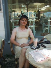 Cafe (Marie-Christine.TV) Tags: summer lady weimar tv dress feminine tgirl transvestite feminin eiskaffee mariechristine etuikleid