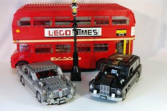 Classic London Street life - Routemaster Bus and classic Black Cab (lego911) Tags: auto street uk england black bus london classic car austin lego cab taxi rover icon vehicle routemaster rm p5 moc fx4 streelife 312litre