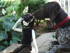 Guntie and the creepy doll (jSarie) Tags: garden toys outdoors dolls abjd balljointed