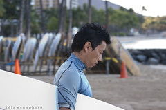 Concentration (sdlawsonphoto) Tags: ocean morning blue beach water yellow canon asian dawn hawaii rocks dof pacific waikiki oahu action surfer candid profile surfing telephoto surfboard dslr breakwater canon70200 canon50d
