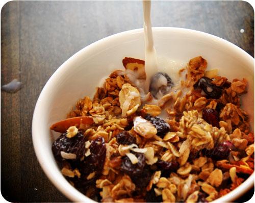 homemade granola with milk