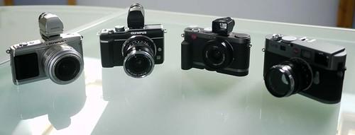 Olympus E-P2 Olympus E-PL1 Leica X1 Leica M9