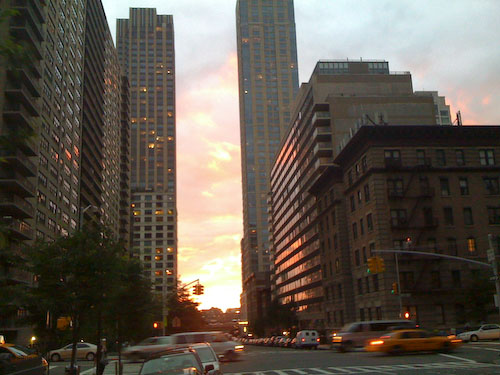 Looking west in Manhattan towards the setting sun