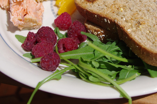 Salmon, Raspberries, Arugula & Bread