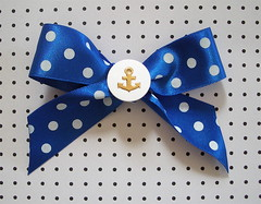 Hello Sailor Anchor Blue Polka Dot Hair Bow (PunkUpBettie) Tags: blue white polkadots anchor rockabilly accessories nautical pinup psychobilly hairbow