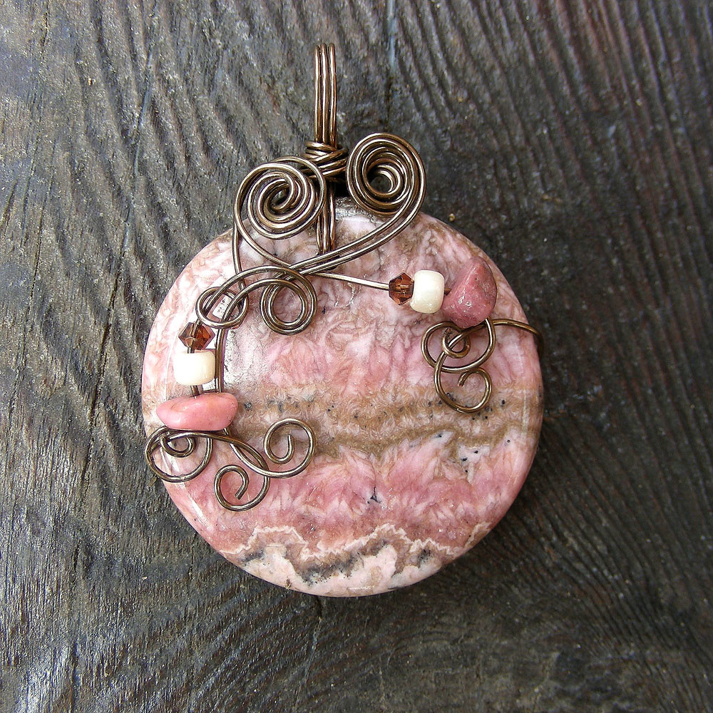 WILD ROSE ~ Pink Rhodochrosite Antique Bronze Wire Wrapped Pendant Necklace.