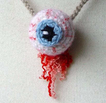 Crochet 3-d eyeball necklace