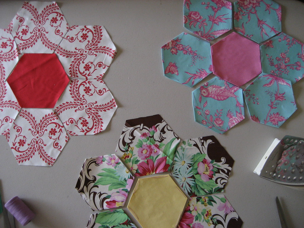 Floral Jumbo Hex Quilt in Progress