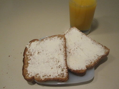 toasts with cream cheese, OJ