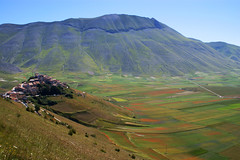 Castelluccio (Massimo Valiani) Tags: city flowers red sky italy green grande village earth blu sony curves mount vector umbria massimo norcia castelluccio pian vettore fioritura a350 valiani