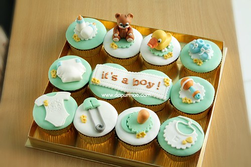 Baby shower cupcakes - Minty green