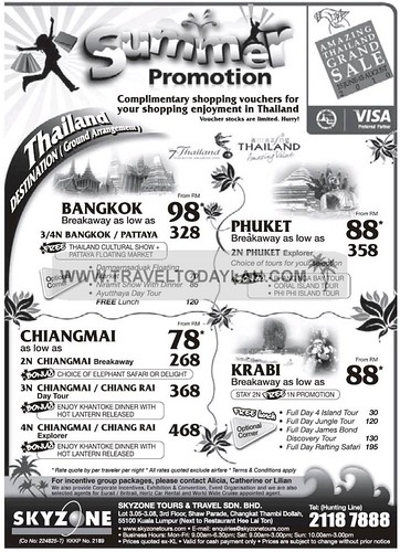 Thailand Summer Holiday Promotion Deals Bangkok, Phuket, Chiangmai, Chiang Rai, Krabi