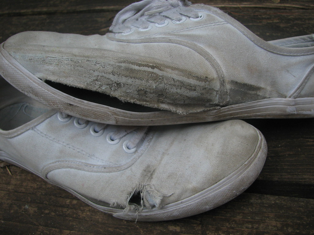 (n a t a s h a ~) Tags  old white shoe grey shoes ripped dirty dirt worn  torn f6baed0c0