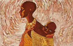 Mother (Sailorgoddess) Tags: baby black art child african contemporary mother angry carry batik fragmentation hardworking