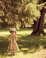 The great thing about getting older is that you don't lose all the other ages you've been. (Rebecca812) Tags: portrait sunlight tree cute girl beautiful grass outside kid branch child dress sweet daughter niece evergreen barefoot pigtails walkingaway bows canon5dmarkii familygetty2010 rebecca812