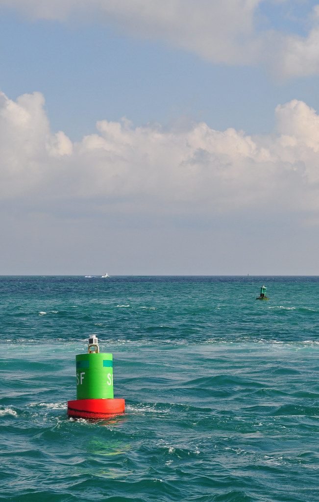 Red and Green Buoy in a Blue Sea
