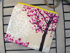 cherry blossom tree (A dogs Dreamz {GoldenElf}) Tags: floral lines handmade sew puzzle zipper clutch dots pouches fabrics