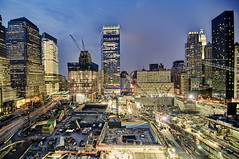 the World Trade Center Site, New York City (mudpig) Tags: nyc newyorkcity cloud ny newyork building skyline night geotagged construction downtown cityscape nocturnal crane worldtradecenter 4 7 wtc gothamist bluehour goldman groundzero hdr sachs woolworthbuilding millenniumhotel 7worldtradecenter freedomtower mudpig 1worldtradecenter stevekelley worldtradehotel