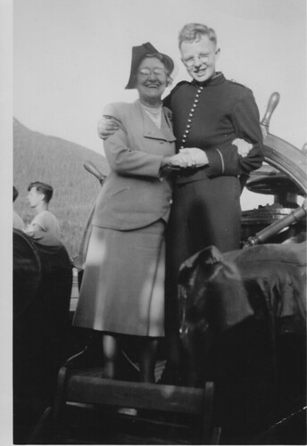 """Friendly with the passengers aboard the SS Princess Norah in the Canadian Merchant Marine circa 1948. """"This lady wanted to adopt me!"""""""