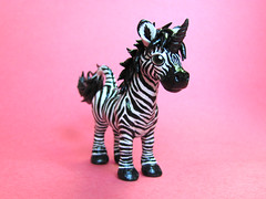 Zebra Unicorn (DragonsAndBeasties) Tags: blackandwhite sculpture horse unique stripes polymerclay fimo pony fantasy zebra sculpey horn etsy custom unicorn horsie hooves premo