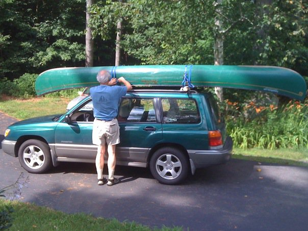 rental canoe on top of the subaru
