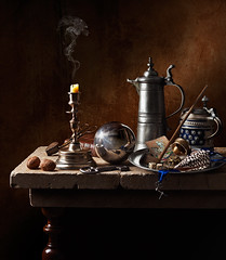 Still Life with Flagon. (kevsyd) Tags: stilllife key candle pipe tarot stein flagon kevinbest dutchstilllife