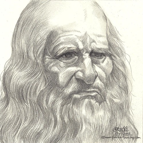Pencil portrait of Leonardo Da Vinci