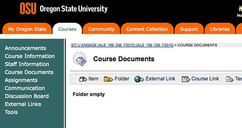 Screenshot of the Blackboard Course Documents page