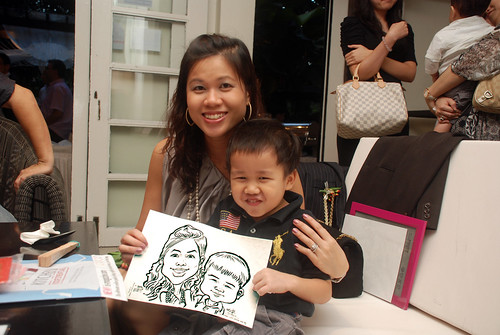 caricature live sketching for David & Christine wedding dinner - 7