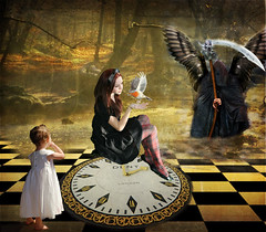 Il tempo scorre inesorabile... -  Time is ticking (Buonaventura's & Carla's) Tags: life clock girl death time birth passages orologio tempo scythe rubystreasures